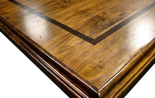 Face Grain Walnut Table Top with Distressing.
