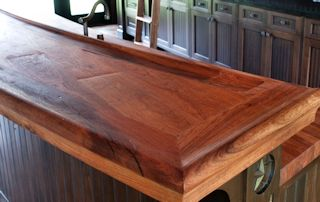 Face Grain Mesquite Bar Top with Distressing.