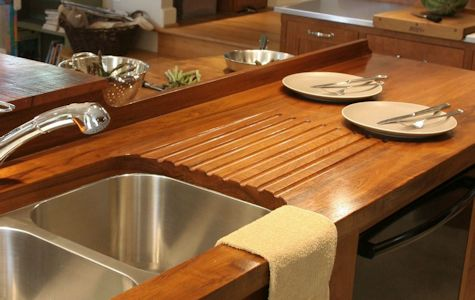 Teak Wood Countertop with Integrated Sloping Drainboard