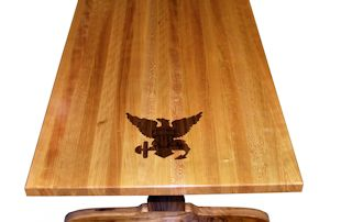 Custom Walnut inlay with dyed resin set into an Edge Grain Cherry table top.