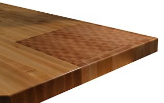 End Grain Hard Maple Chopping Block permanently inset into an Edge Grain Hard Maple Countertop.