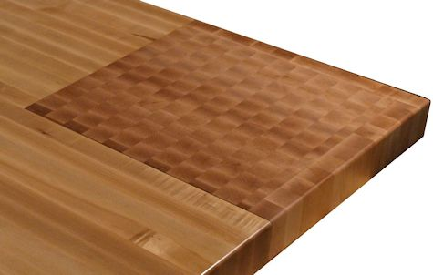 Hard Maple Wood Island Countertop with Integrated End Grain Chopping Block