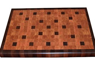End Grain Lyptus Island Top with Walnut accents and a Walnut border.
