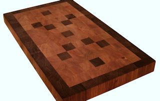 End Grain Cherry Island top with Walnut Accents and a Walnut Border.