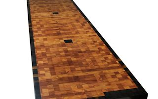 End Grain Lyptus Island Top with Wenge Accents and a Wenge Border.