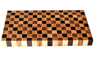 End Grain Hard Maple chopping block with Wenge and Zebrawood patterned accents.