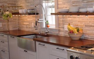 Edge Grain Sipo Mahogany Countertop with farm sink and Waterlox finish