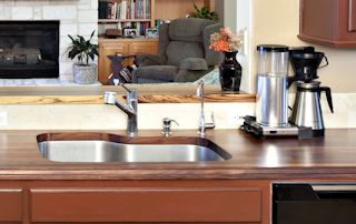 Edge Grain Walnut Countertop with undermount sink and Tung-Oil/Citrusfinish