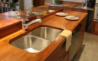 Face Grain Teak Countertop with undermount sink, sloping drainboard and Waterlox finish