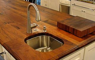 Face Grain Mesquite Island Top with undermount sink and Waterlox finish