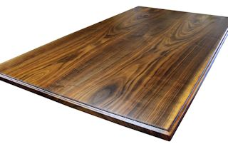 Custom Walnut island top from two book-matched slabs. Ogee Fillet edge profile and Waterlox satin finish