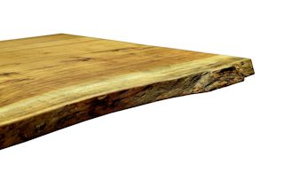 Pecan slab table top with Natural Edges and a Tung-Oil/Citrus finish.