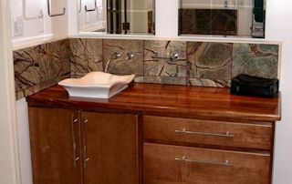 Edge Grain African Mahogany Vanity Top with vessel sink and Waterlox finish
