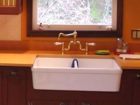 Face Grain Beech Countertop with farm sink and Waterlox finish