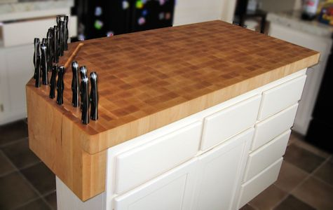 Hard Maple Wood Island Countertop with Integrated Knife Block