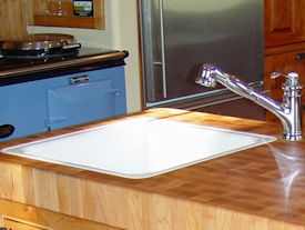 End Grain Hard Maple Island Top with drop in sink and Waterlox finish