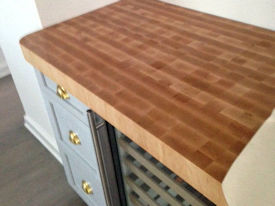 Hard Maple end grain butcherblock countertop with a Tung-Oil finish.