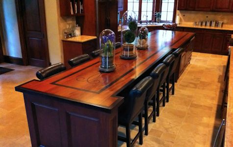 Jatoba Wood Island Countertop with Custom Wenge Inlay
