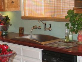 Edge Grain Jatoba Countertop with drop in sink and Waterlox finish