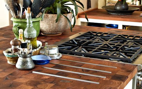 Mesquite Parquet-Style Wood Island Countertop with Integrated Stainless Steel Trivet