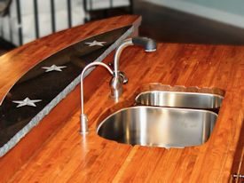 Edge Grain Mesquite Countertop with undermount sink and Waterlox finish