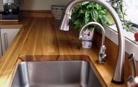 Pecan Wood Countertop with undermount sink