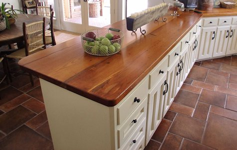 Face Grain Reclaimed Longleaf Pine Wood Countertop