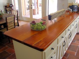 Reclaimed Longleaf Pine face grain custom wood countertop.