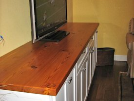 Reclaimed Longleaf Pine face grain custom wood counter top.