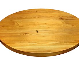 Reclaimed Longleaf Pine face grain custom wood table top.