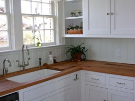 Reclaimed White Oak face grain custom wood countertop.