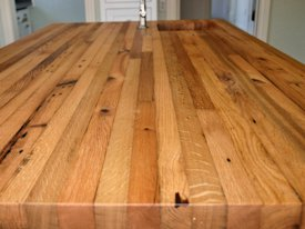 Reclaimed White Oak face grain custom wood island countertop.
