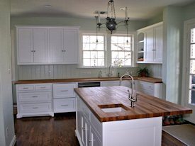 Reclaimed White Oak face grain custom wood island countertop and countertop.