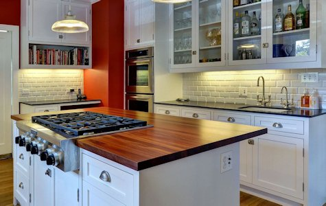 Santos Mahogany Wood Island Countertop with Rangetop Cutout