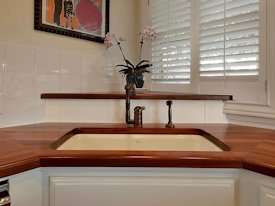 Edge Grain Sipo Mahogany Countertop with undermount sink and Waterlox finish