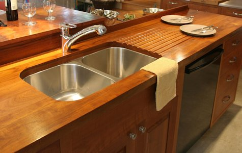 Face Grain Teak Wood Countertop with Sloping Drainboard