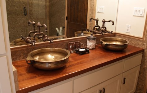 Teak Wood Bathroom Vanity Countertop