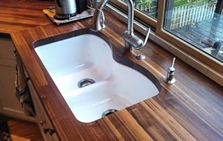 Edge Grain Walnut countertop with undermount sink and Tung-Oil/Citrus finish