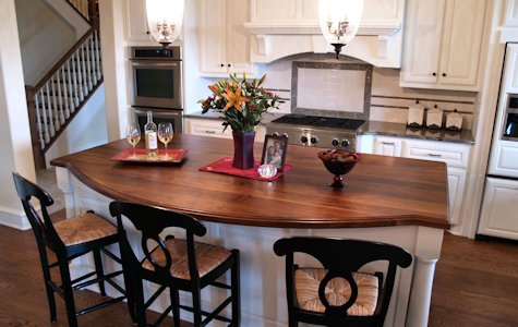 Walnut Wood Island Countertop with Scalloped Edge