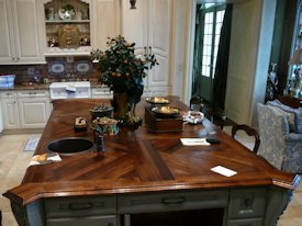 White Oak edge grain custom wood island countertop.