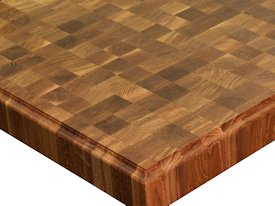 White Oak end grain custom wood island countertop.