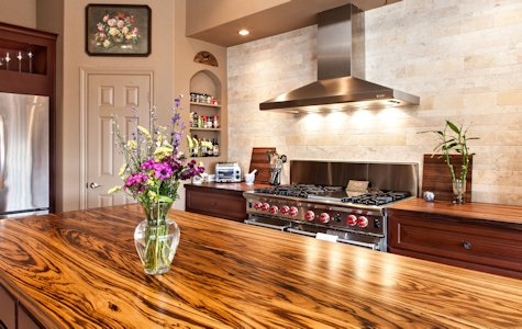 Zebrawood wood island and walnut wood countertop