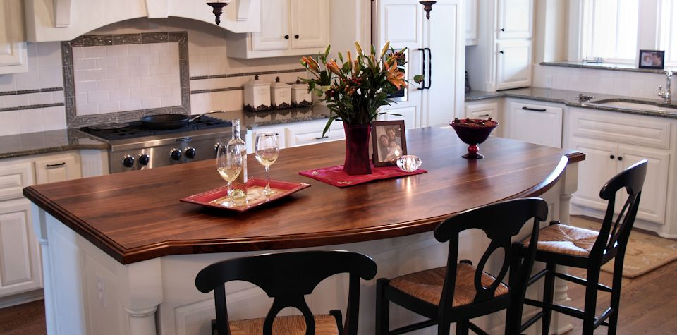 Walnut Wood Island Countertop with one scalloped edge