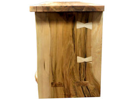 Custom Entertainment Center made from Ambrosia Maple Slabs.  Natural Edges on Face.  Mortise and Tenon Jointery.  Maple Butterfly Detailing.  Adjustable Shelves.  Cord Cutouts.  Tung Oil Citrus Finish.