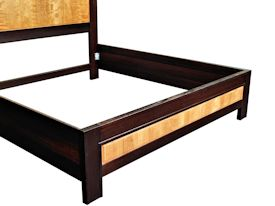 Custom Wenge and Cherry panel bed with matching night stands.