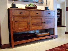 Custom Mesquite buffet with slat shelf.
