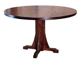 Custom walnut table with pedestal-style base