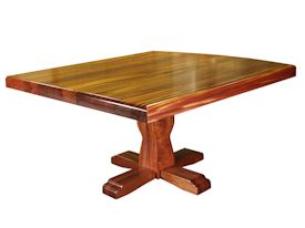Custom jatoba table with pedestal-style base and drop-edge top.
