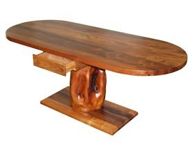 Custom face grain mesquite desk with drawer and pedestal-style base using a mesquite stump