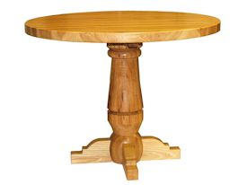 Custom round pecan table with turned pedestal-style base